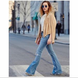 FREE PEOPLE Distressed Flare Leg Jeans Size 30